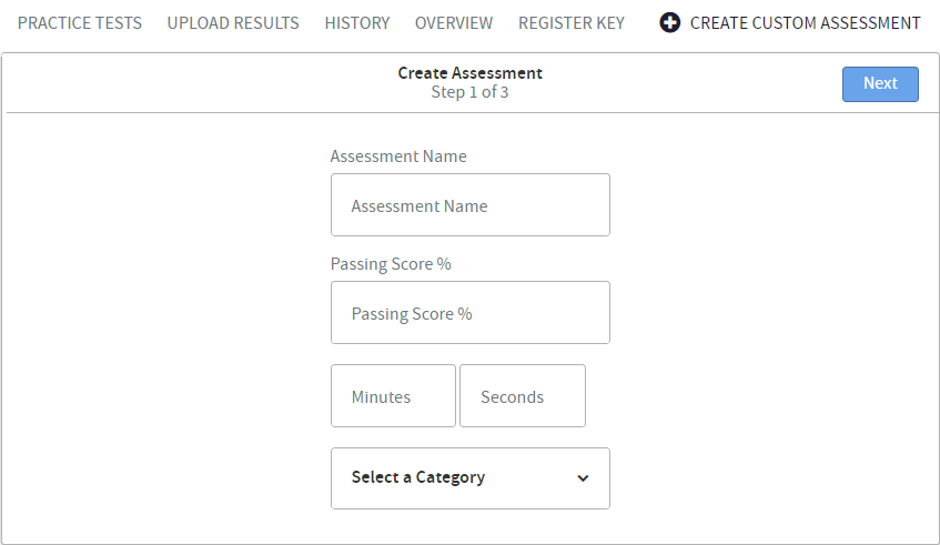 How to create a Custom assessment
