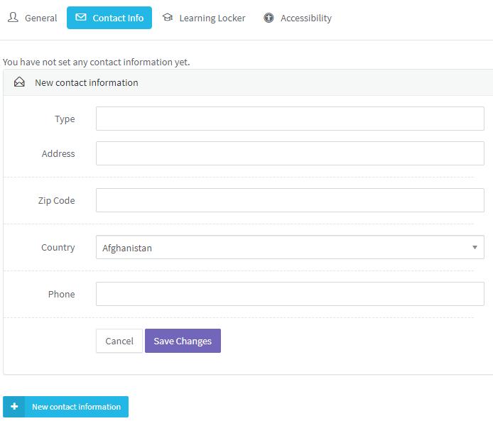 Pedagoo configure your Contact Info