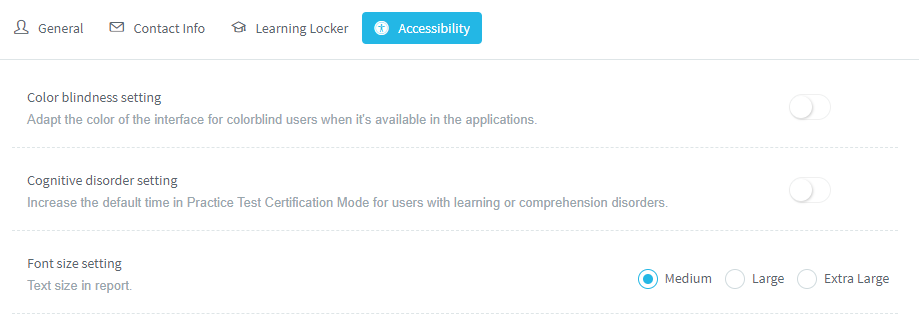 How to configure the accessibility